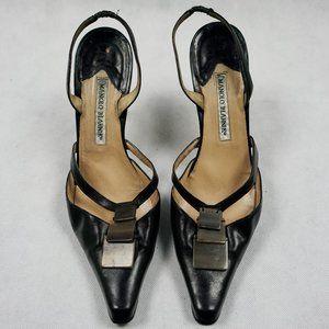 Manolo Blahnik Leather Slingback Heel in Black